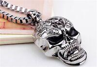 Tibet Men's Bone Skeleton Silver Skull Pendant Infinity Chain Charm Necklace