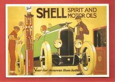 CARTE POSTALE PUBLICITAIRE SHELL SPIRIT AND MOTOR OILS POMPE A ESSENCE 02