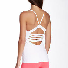 SOLOW SPORT Cotton Blend Fitted Cutout Detail Racerback White Cami - XL