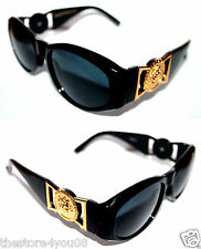 Medusa Metal Gold Logo 413  Medium Black Sunglasses Vintage Style Biggie 852