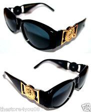 Medusa Metal Gold Logo 413  Medium Black Sunglasses Vintage Style Biggie 852
