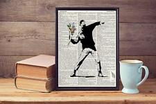 Banksy Flower Bomb Recycled Upcycled Vintage Dictionary Page Art Print A4