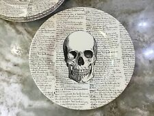 Skull Salad Plates By Royal Stafford. Ivory And Black. Set Of 4. New.