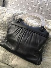 Vintage Black Leather Purse Clear lucite Top Handles Cool Retro Style