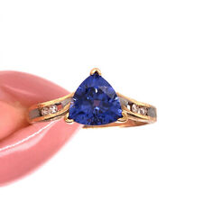 Right-Hand Ring in 10k Yellow Gold 1.00ct Trillion Cut Tanzanite and Diamond