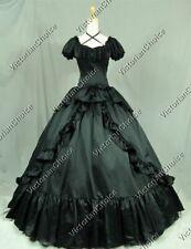 Victorian Civil War Steampunk Vintage Dress Black Witch Halloween Costume 206