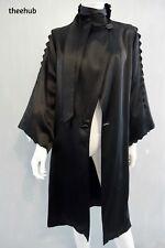 VINTAGE Antico 1920s moderno Millie FLAUTO DECO maniche in raso di seta nera opera Cappotto