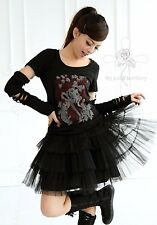 Magic Gothic Lolita Party Queen  Lace Rock Blacks Tiered Rock Tutu Puffy Skirt