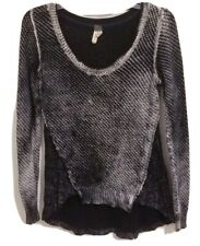 We The Free People Size XS Black White Distressed Long Sleeve Thermal Top Shirt