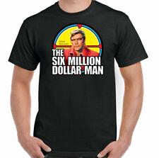 Six Million Dollar Man Steve Austin Vintage Fiction Movie Black T-shirt S-6XL