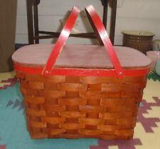 VINTAGE WOVEN WOODEN PICNIC BASKET WOOD FLIP TOP OLD RED PAINT TRIM & HANDLES