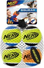 NERF Dog SQUEAK Tennis BALLS Toy 4 pack INTERACTIVE Can Be Used With Launcher