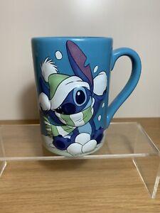 Disney Store Lilo & Stitch Exclusive Large Blue Christmas Winter Snow Mug