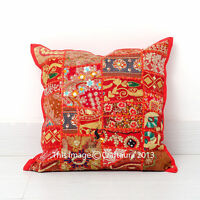 Indian Decorative Cushion Cover Patchwork Embroidered Pillow Cases Throw 24 Inch