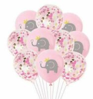 "Pink Elephant BABY Shower Latex Balloons Girls Party Decor 12 PACK 11"" Confetti"
