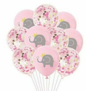 """Pink Elephant BABY Shower Latex Balloons Girls Party Decor 12 PACK 11"""" Confetti"""
