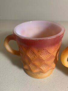 Set Of 3 Red Fire King ANCHOR Hocking Mid century Diamond COFFEE Cup Mugs EUC