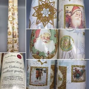 """x2 Punch Studio Christmas Gold Glitter Santa Wrapping Paper Gift Wrap Rolls 30"""""""