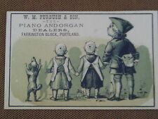 1880s POSTCARD SIZE TRADE CARD W M FURBUSH PIANO ORGAN STORE AD PORTLAND OREGON