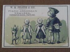 1880s POSTCARD SIZE TRADE CARD W M FURBUSH PIANO ORGAN STORE AD PORTLAND OREGON