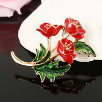 Poppy Flower Brooch Pin Crystal Enamel Badges 2019 Red Broach Collection Day UK