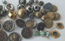 Antique Lot of 55 Metal BUTTONS Picture Buttons Bell Buttons & Silver Painted