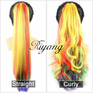 """Women's Hair Ponytails 20"""" Straight/Curly Hairpiece Clip on Extensions Synthetic"""