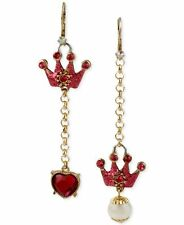 BETSEY JOHNSON 'Critter Boost' Pink Crown Heart Charm Mismatched Drop Earrings