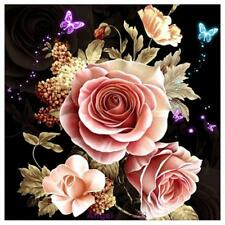 5D DIY Pink Rose Embroidery Diamond Painting Cross Stitch Kit Home Decor