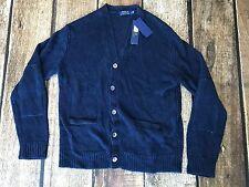 Polo Ralph Lauren Mens V-Neck Italian Yarn Cardigan Ink Blue Mens Size XXL New