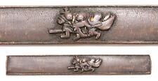 Antique Japanese Muromachi Kozuka 2 Samurai Nanako Sword Fitting Koshirae Old
