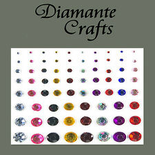 1mm - 8mm Mixed Colours Diamante Self Adhesvie Rhinestone Body Nail Vajazzle Gem