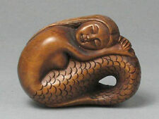 """1940's Japanese handmade Boxwood Netsuke """"Beautiful Mermaid"""" Figurine Carving"""