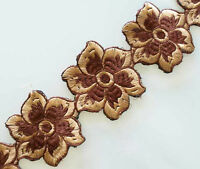 Brown Tan Flowers. Wide, Embroidered, Ribbon Trim.