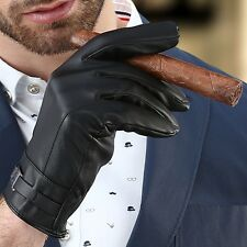 Men Leather Gloves Black Business Thermal Thinsulate Lined Driving Warm Gloves