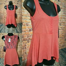 532a787f0db Almost Famous Women s Shirt Orange Lace Back High-Low Peplum Junior s Size  Small