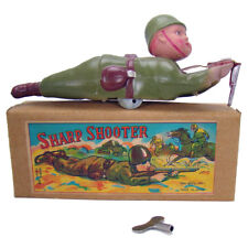 Celluloid and Tin Sharpshooter Wind-up Toy - MIB