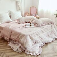 Luxury Lace Embroidery Egyptian Cotton Bedding Set Duvet Cover Bed Skirt 4pcs