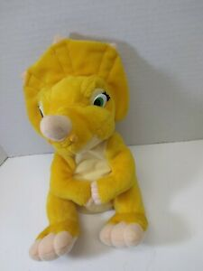 """Vintage 1996 The Land Before Time Cera Yellow Dinosaur Plush 10"""" Pre-owned"""