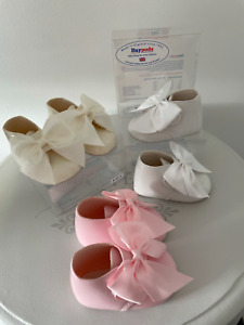 BABY GIRLS SPANISH STYLE SOFT SOLE PRAM BOOTS PICOT BOW PATENT SHOES BAYPODS