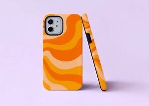 Groovy 70s Orange Lines Waves 2 in 1 Hybrid Tough Phone Case/Cover For iPhone UK