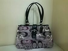 Auth COACH Soho Optic Signature Print Carryall F19458 Gray Black Multi Tote Bag