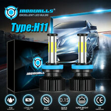6 Sides H11 LED Headlight High or Low Beam Bulbs 2800W 360000LM 6000K White 2Pcs