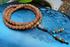Especially Beautiful Mala Prayer Chain From Small Rudraksha Beads 29 7/8in From