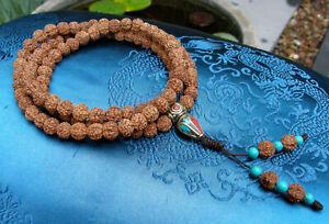 Besonders schöne MALA Gebetskette aus kleinen Rudraksha Perlen 76cm aus TIBET!