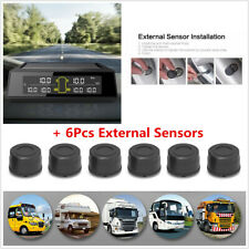 Car Solar Wireless Tyre Pressure Monitoring System+Sensors Real-time Voice Alarm