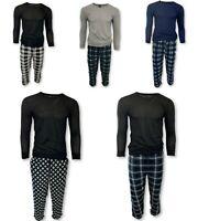 BUM Men's 2PC Waffle Thermal Top & Flannel Fleece Pajama Bottom Lounge Pants Set