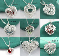 Women Fashion Cheap 925 Silver Crystal Heart Pendant Jewelry For Necklace