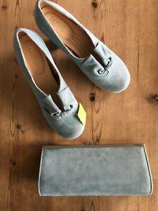 2 for 1! HOTTER  duck egg blue aqua DONNA heeled shoe PLUS clutch bag