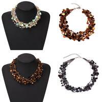 Women Sequins Choker Fashion Chunky Statement Chain Pendant Bib Necklace Jewelry
